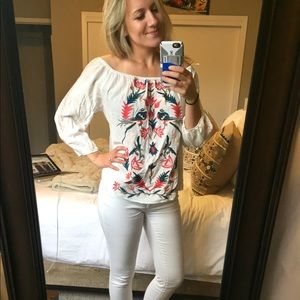 Anthropologie {Solitaire} White Embroidered Top
